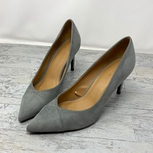Zara Grey Suede Pointed Toe Heels Size 40